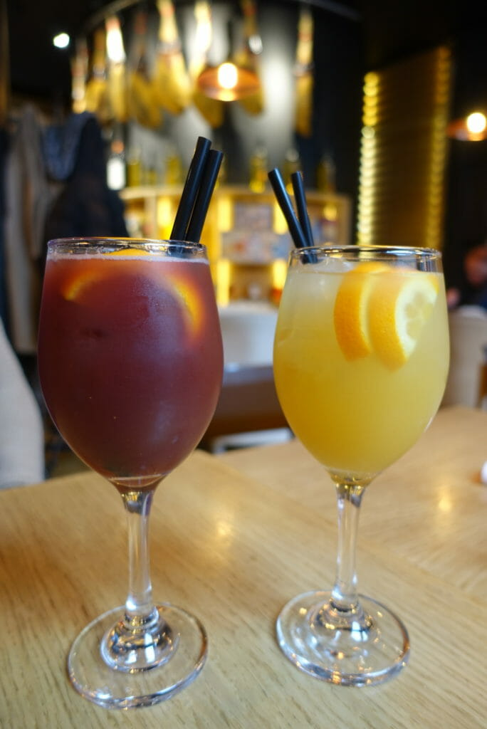 Red and white sangria glasses
