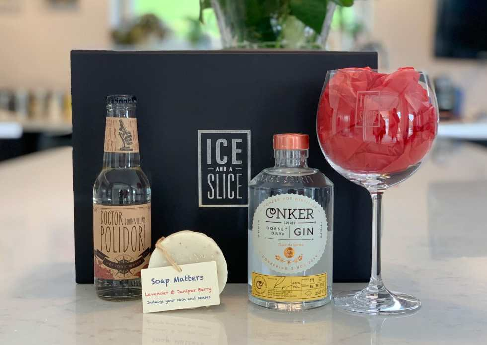 Black gin gift box with the Ice and a Slice logo