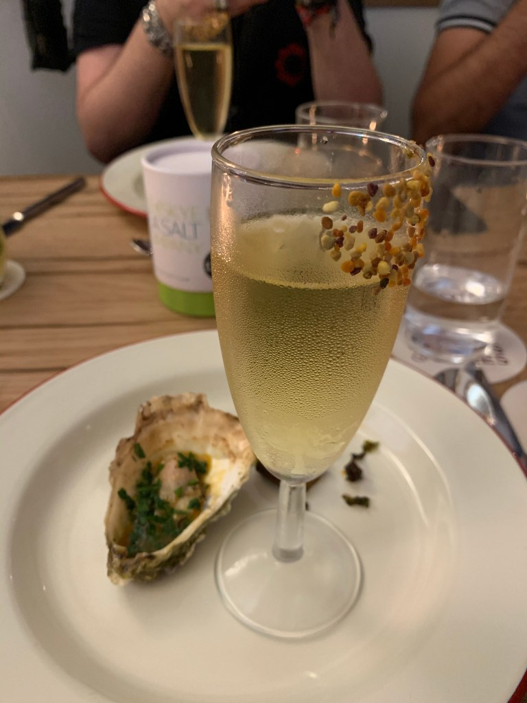 Oyster and champagne glass