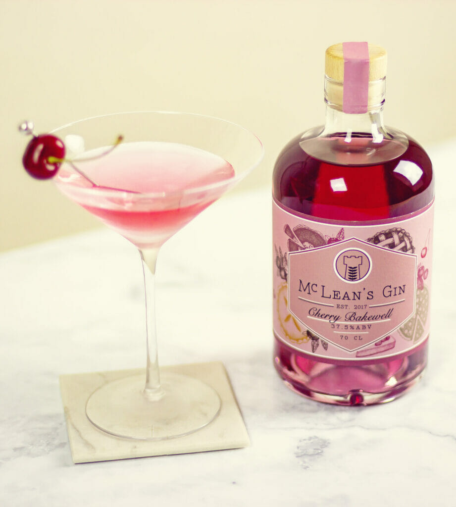 McLean's Cherry Bakewell gin and pink cocktail