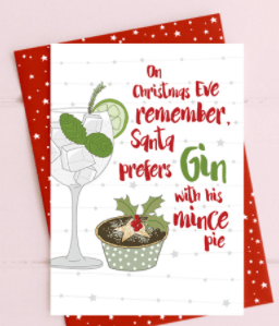 On Christmas Eve remember that Santa prefers gin with his mince pie from Love Kate