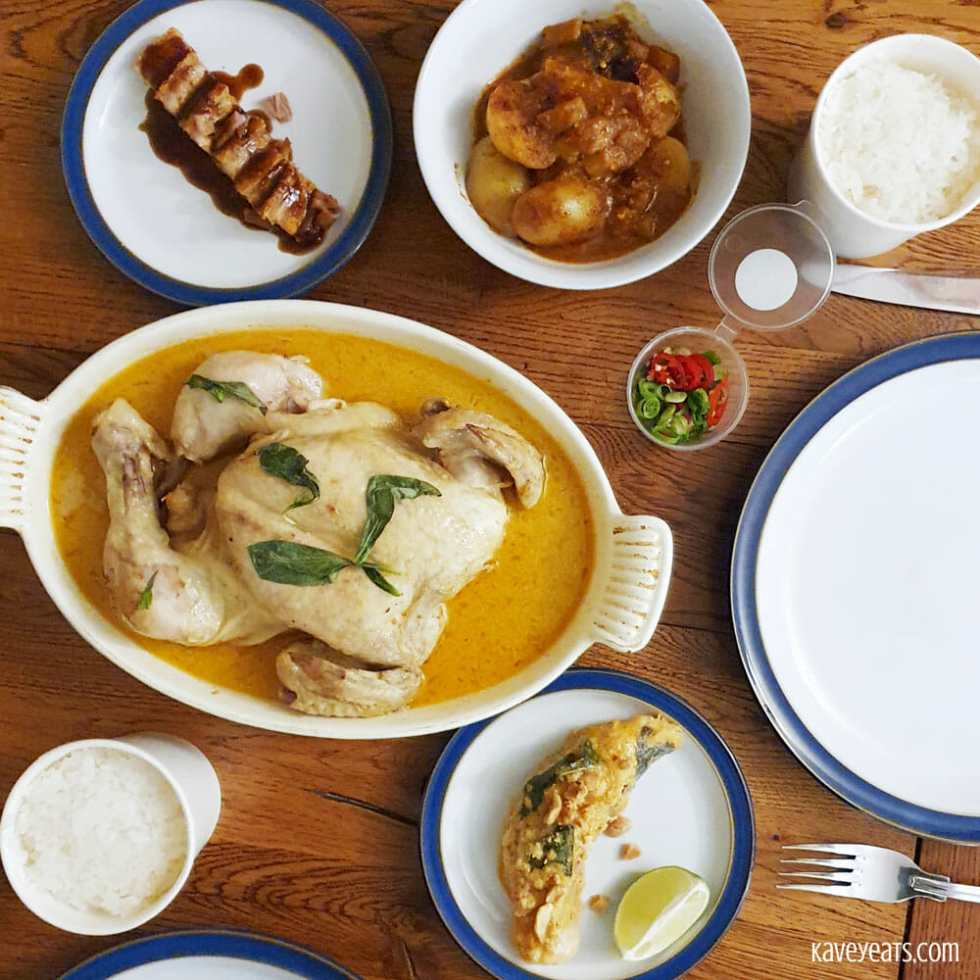 Thai chicken and side dishes