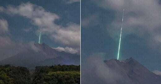 Nad wulkanem pojawiło się tajemnicze zielone światło. Być może wiemy, skąd się wzięło