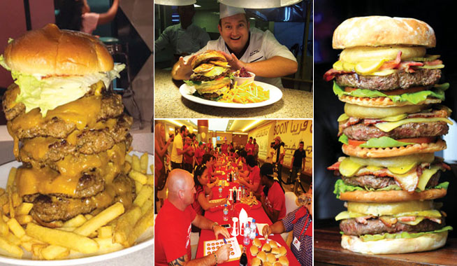 Burger eating competitive eating challenge in Abu Dhabi