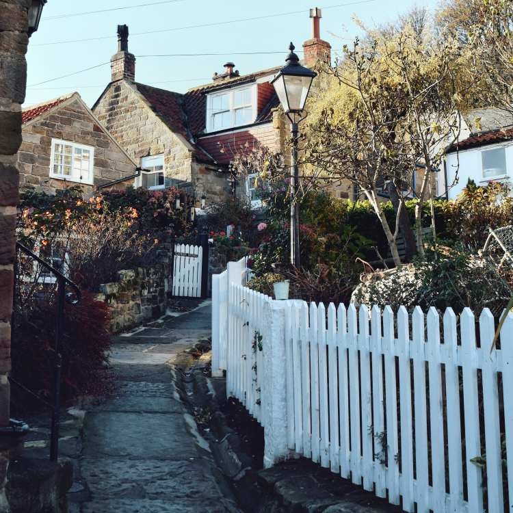 The beautiful windy streets in the old fishing village of Runswick Bay, Yorkshire