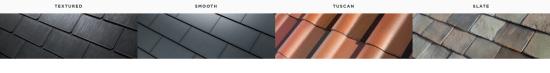 Tesla Solar Roof Slate Tuscan Textured Smooth Options