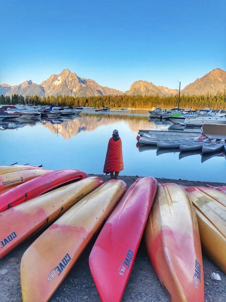 Morning mountain views at Grand Teton National Park and Colter Bay