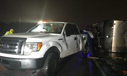 Family hospitalized after high winds flip truck and trailer to flip on I-20