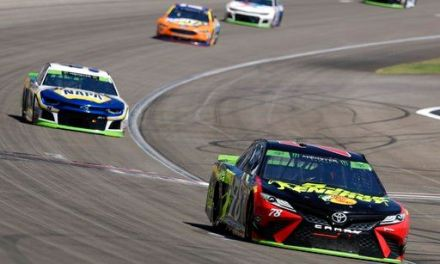 The Latest: Harvick blows tire, crashes out in Vegas
