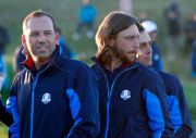 (AP Photo/Alastair Grant). Europe's Sergio Garcia, Tommy Fleetwood and Francesco Molinari, from left, wait for the European Ryder Cup team photo at Le Golf National in Guyancourt, outside Paris, France, Tuesday, Sept. 25, 2018. The 42nd Ryder Cup will ...