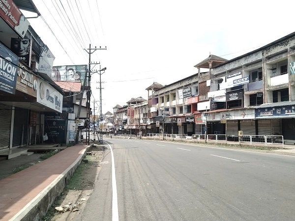 Empty streets during lockdown in Kerala