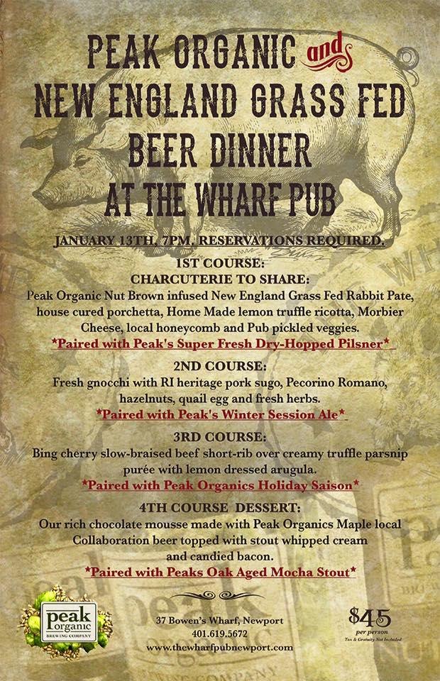 Peak Organic Beer Dinner Wharf Pub
