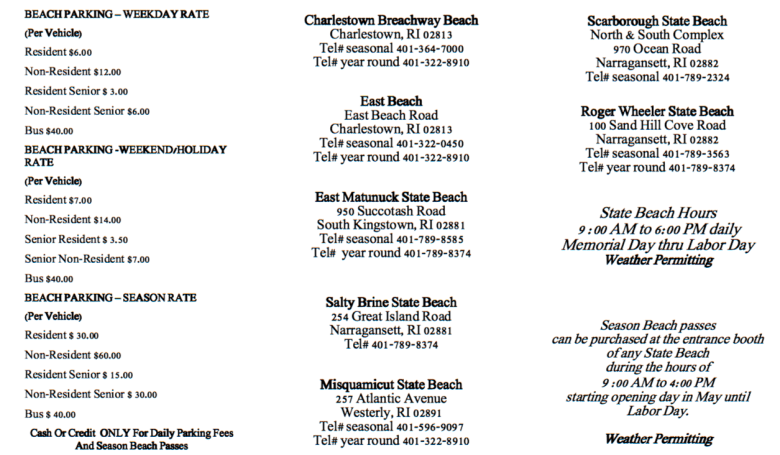 Beach Parking Fees & RI State Beaches