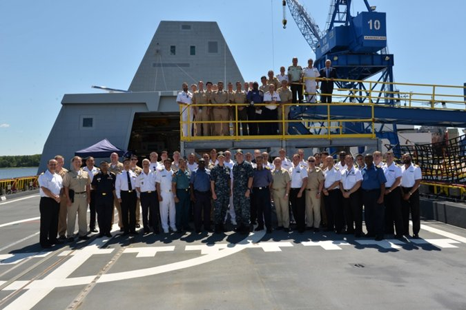 160808-N-YZ252-089 BATH, Maine (Aug. 8, 2016) Fifty-one officers from U.S. Naval War College's Naval Command College tour future USS Zumwalt (DDG 1000). Following a crew certification period and October commissioning ceremony in Baltimore, Zumwalt will transit to her homeport in San Diego for a Post Delivery Availability and Mission Systems Activation. DDG 1000 is the lead ship of the Zumwalt-class destroyers: next-generation multi-mission surface combatants. (U.S. Navy Photo by Chief Mass Communication Specialist Roger Duncan/Released)