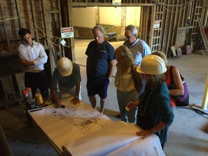 Construction in progress inside Newport Opera House.