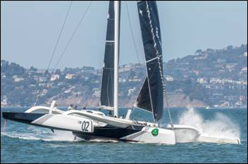 Tom Siebel's 70-foot trimaran Orion tunes up for the Rolex Big Boat Series on San Francisco Bay. (ROLEX/Daniel Forster)