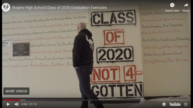 A MURAL, featuring the names of seniors, whose traditional graduation was canceled because of the Covid-19 pandemic, was placed on a wall at Rogers High School. CREDIT: Screenshot from the Rogers graduation video.