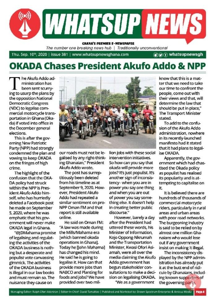 OKADA Chases President Akufo Addo & NPP