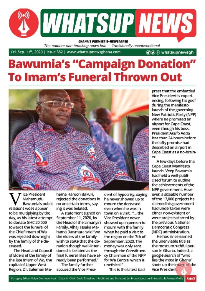 """Bawumia's """"Campaign Donation"""" To Imam's Funeral Thrown Out."""