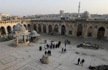 Aleppo's landmark mosque bears scars of Syria's war