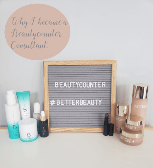 a white table with a grey sign saying beautycounter.  Better beauty and includes products