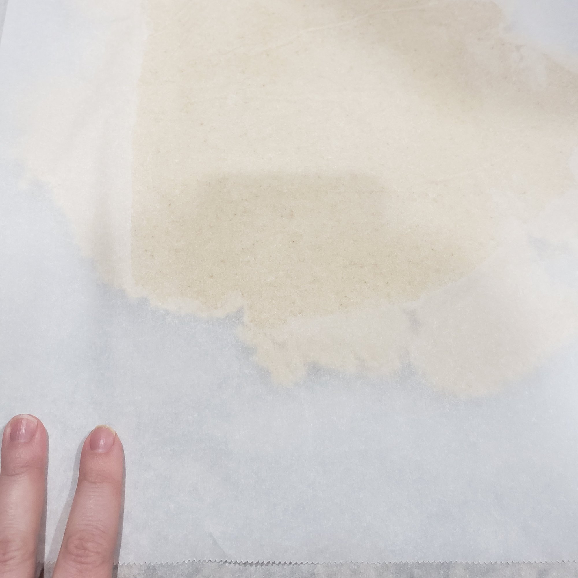 sugar cookie dough spread between parchment paper