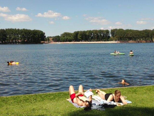 Outdoor swimming in the West of Amsterdam.