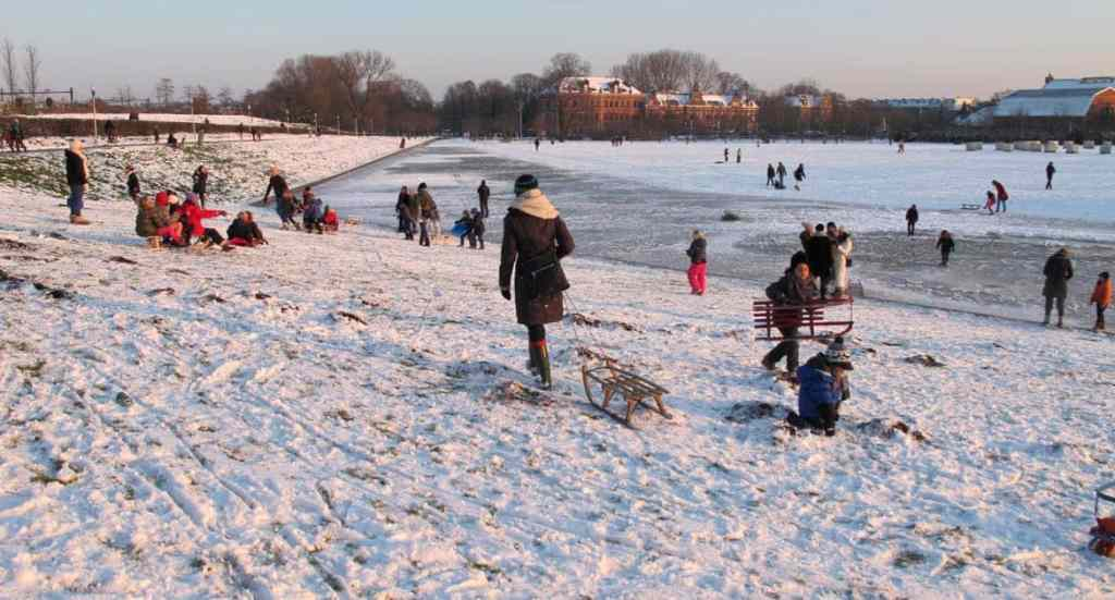 Winter in Amsterdam: sledding