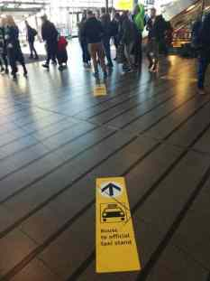 Route to official taxi stand at Schiphol airpot