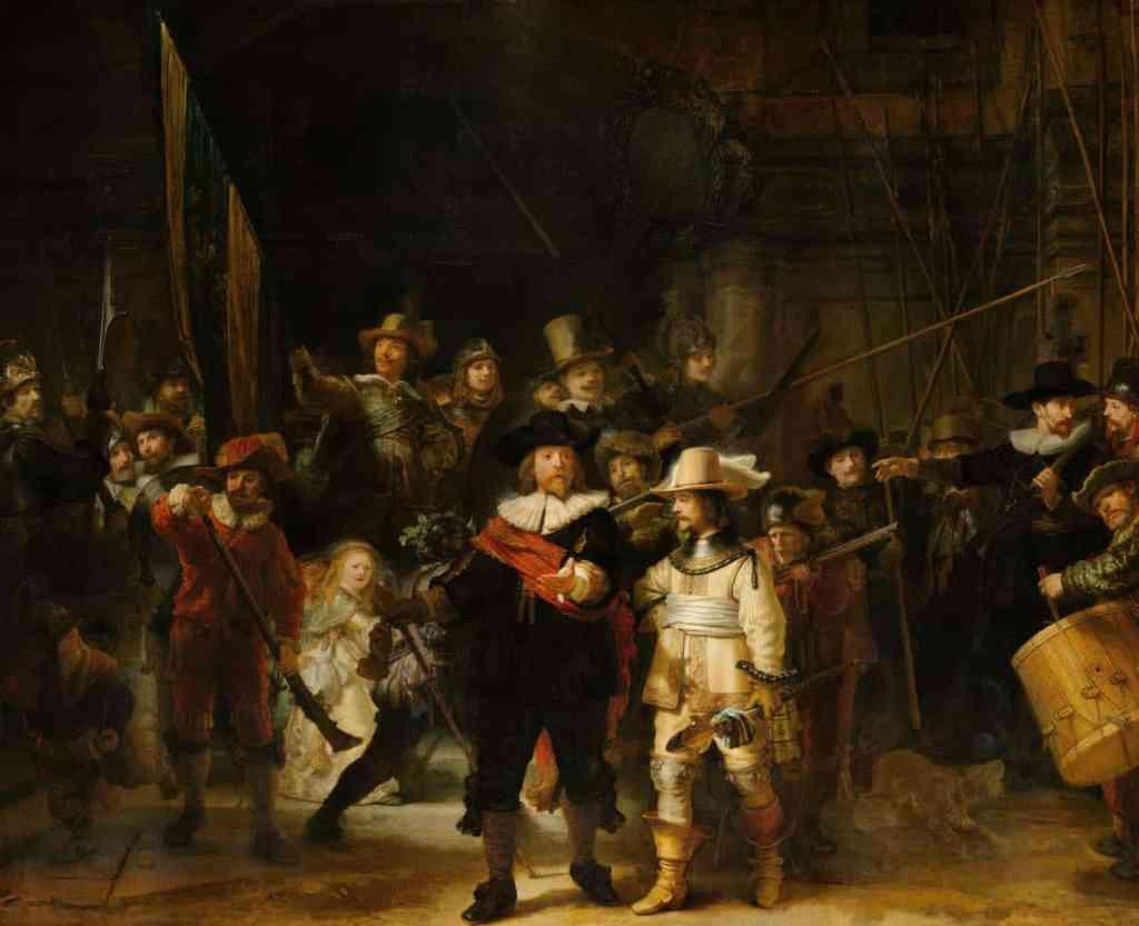 Rembrandt Harmensz. van Rijn, Schutters van wijk II onder leiding van kapitein Frans Banninck Cocq, bekend als de 'Nachtwacht', 1642. Rijksmuseum, Amsterdam. Bruikleen van de gemeente Amsterdam