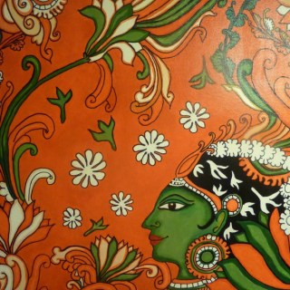Kerala Mural Painting – Lady in <strike>Red</strike> Orange