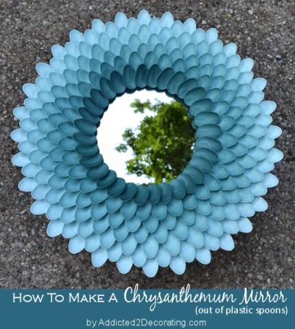 chrysanthamum mirror, sunburst mirror with spoons