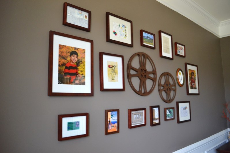 post card gallery, office room makeover