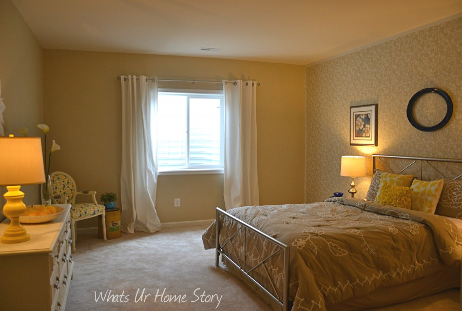 Whats Ur Home Story: Neutral Bedroom, Stenciled accent wall bedroom