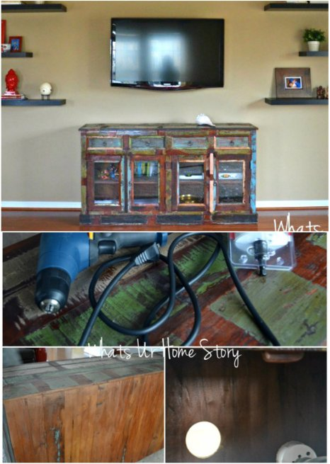 turn a buffet into a TV console
