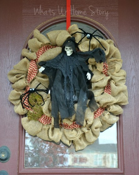 Whats Ur Home Story:Halloween burlap wreath, halloween decor
