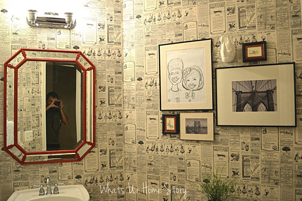 Octagon mirror, powder room mirror makeover, mirror makeover, octagon mirror makeover