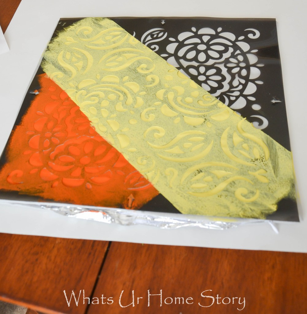 multi color stencil pillow tutorial
