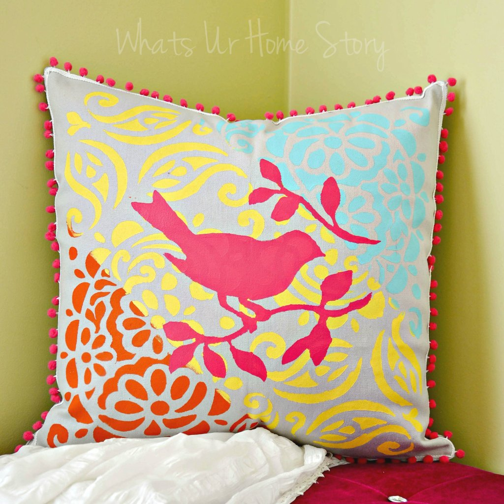 tulip stencil pillow