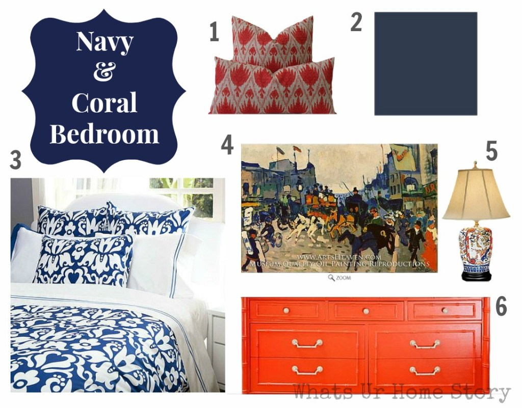 navy coral it is whats ur home story 16495 | navy and coral bedroom resize 1024 2c801