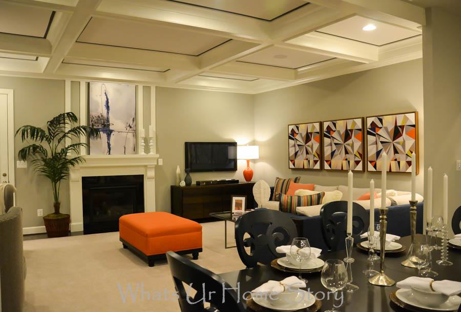Family room orange accents