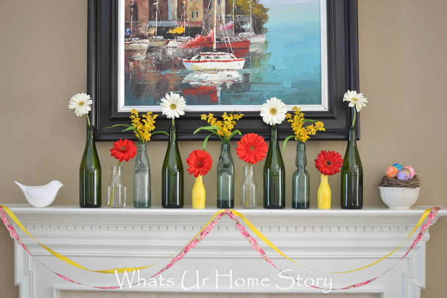 Colorful and Easy Spring Mantel