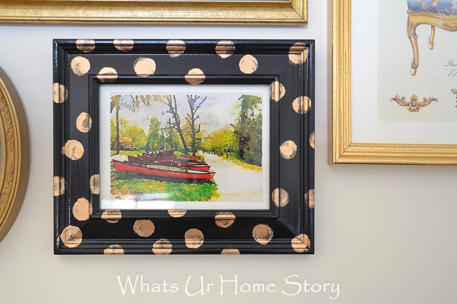 polka dotted frame DIY