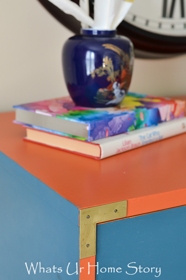 How to paint a campaign dresser; General Finishes Persimmon and Annie Sloan Aubusson Blue
