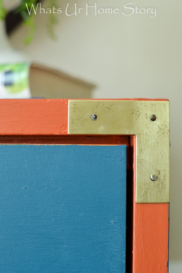 Laminate dresser makeover; General Finishes Persimmon and Annie Sloan Aubusson Blue