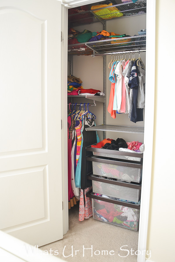 a tiny closet gets added functionality and organization with the elfa closet system