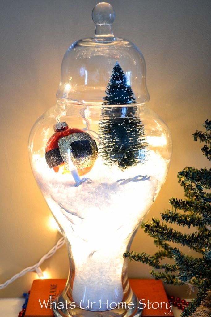Snow Globe Terrarium or Christmas Apothecary Jars; How to Make a Snow Globe Terrarium