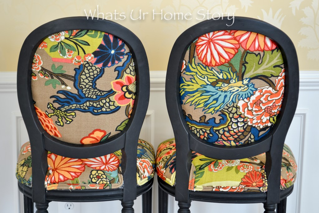 Chairs Makeover with Black chalk paint & colorful print fabric -Chiang Mai Dragon Fabric