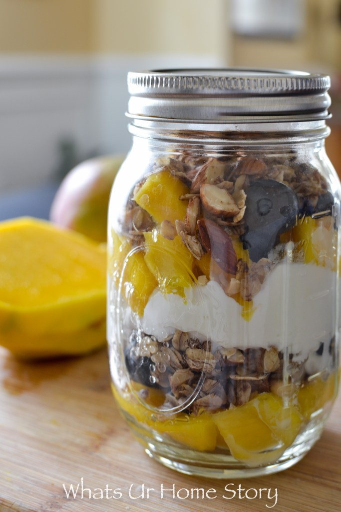 Yes, you can make this delicious breakfast parfait ahead of time -Blueberry Mango Yogurt Parfait-0113