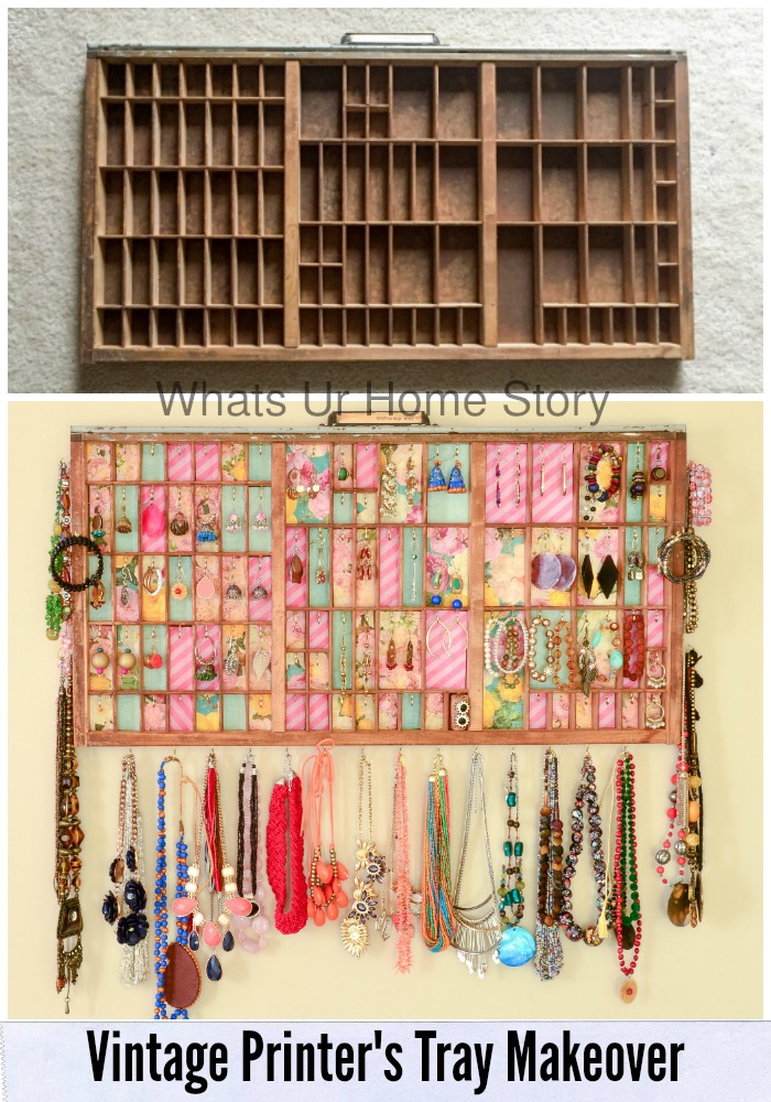 A great space saving idea for small closets! Turn a vintage printer's tray into a jeweler holder - Letterpress tray jewelry holder